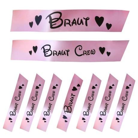 Schärpe Braut + Braut Crew Set JGA Hen Party Bride to be Herzen rosa