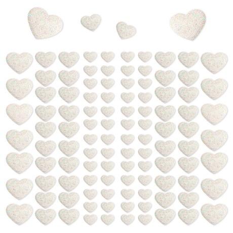 106 Herz Sticker Aufkleber Set mit Glitzer Scrapbooking Deko - weiß