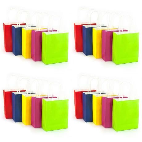 20 Papiertüten mit gedrehtem Tragegriff Geschenktüten Taschen Farbmix