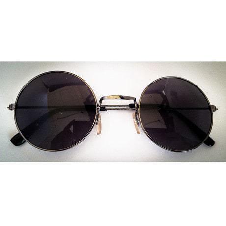 Hippie Brille John Lennon Sonnenbrille Flower Power 60er 70er Peace - schwarz