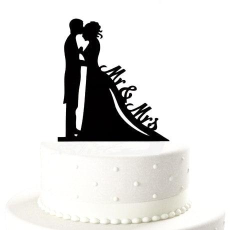 Hochzeitstorten Topper Brautpaar Mr & Mrs Kuchendeckel - schwarz