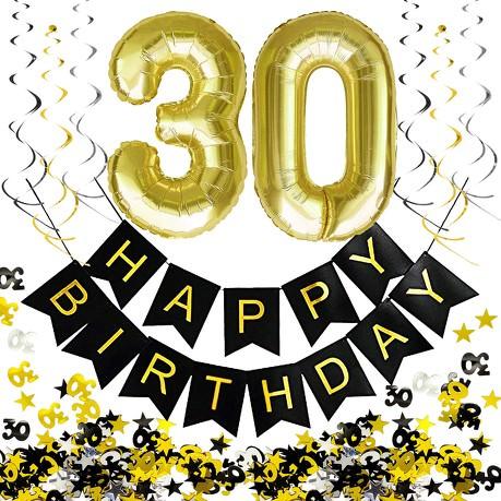30 Geburtstag Party Deko Set Girlande Zahl 30 Ballons