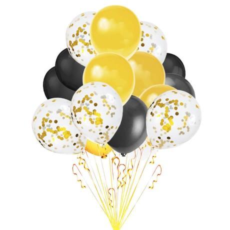 Konfetti Luftballon Set 15 Stk Hochzeit JGA Geburtstag schwarz gold