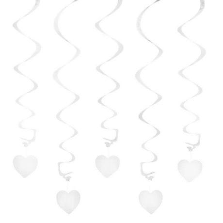 5 Girlande Spiral Deckenhänger mit Herz - weiß