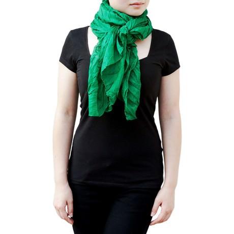 Tuch Schal Chiffon Stola Fashion Outfit Damen Tücher - dunkelgrün