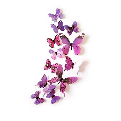 3D Schmetterlinge 12er Set Wandtattoo Wandsticker Wanddeko - lila-pink