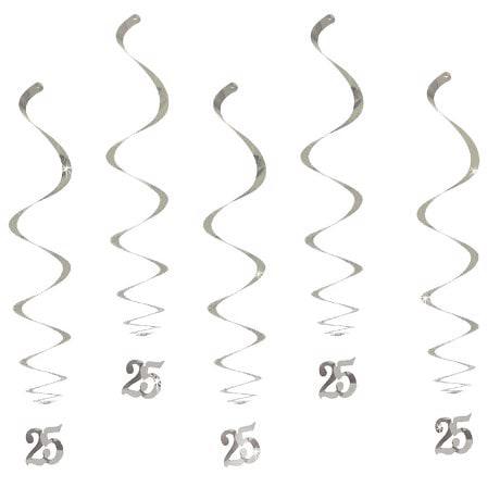 5 Wirbel Deckenhänger 25. Geburtstag mit Bändern und Ösen - silber