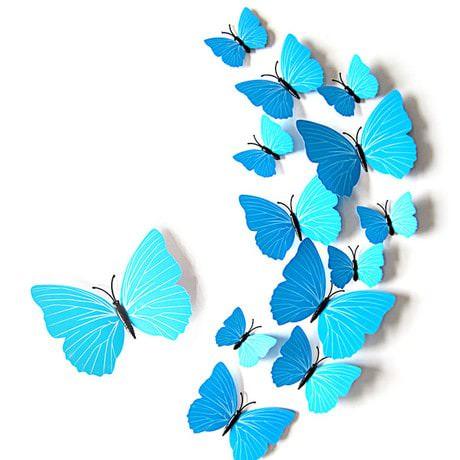 3D Schmetterlinge 12er Set Wandtattoo Wandsticker Wanddeko - Türkis