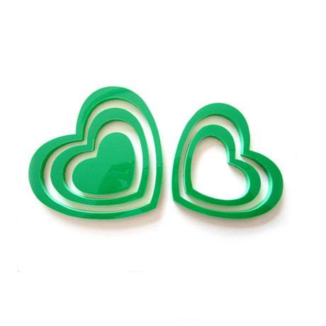 3D Herzen 5er Set Wandtattoo Dekoration 3D Deko - grün
