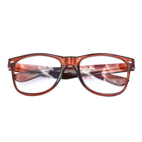Nerdbrille Hornbrille 80s Retro Nerd Streber Brille - braun