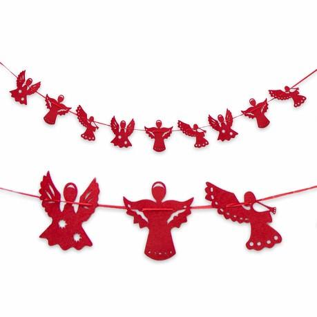 Engel Girlande Filz Engelchen Weihnachtsdeko Deko Weihnachten - rot