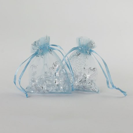 Organzasäckchen Organzabeutel Schmuckbeutel babyblau Schmetterlinge