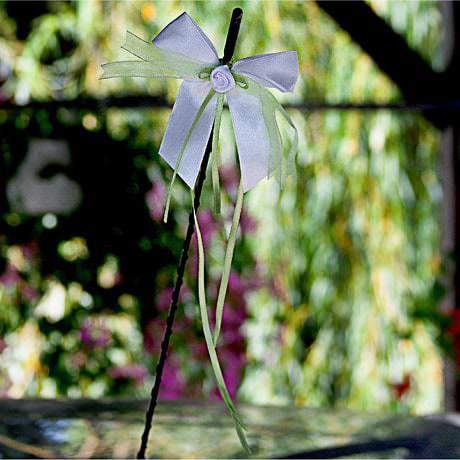 10 Antennenschleifen Hochzeit Deko Schleifen 8 cm - weiß grün