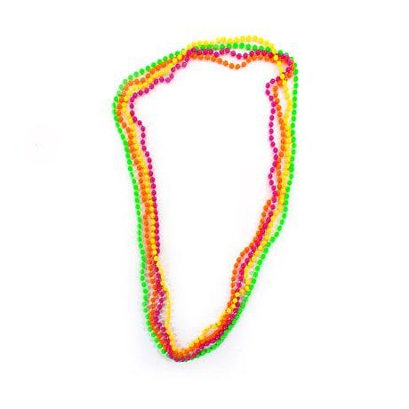 Perlenkette Halskette Fasching Karneval 80er Jahre Hippie 4er Set - bunt