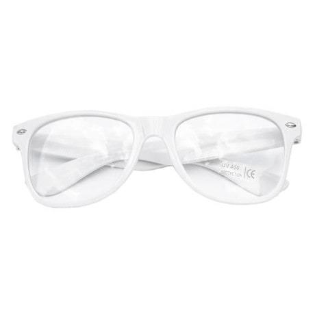 Nerdbrille Hornbrille 80s Retro Nerd Streber Brille - weiß