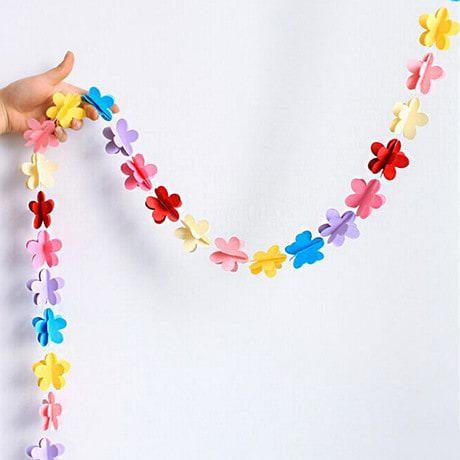 Deckenhänger Girlande 3D Blumen Geburtstag Party Deko - bunt