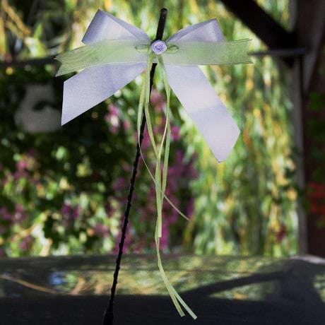 10 Antennenschleifen Hochzeit Deko Schleifen 14 cm - weiß grün