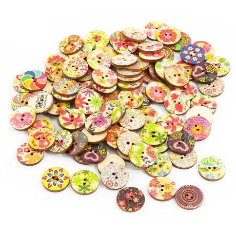 100x Holz Knöpfe Blumen Kinderknöpfe Buttons Nähen Kleidung Basteln