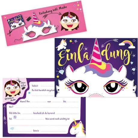 6 Einladungskarten Kindergeburtstag Einhorn Party mit Einhorn Masken