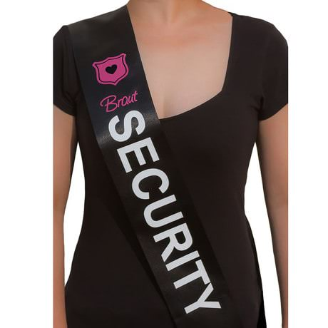 Schärpe Braut Security JGA Hen Party Bride to be Party schwarz weiß