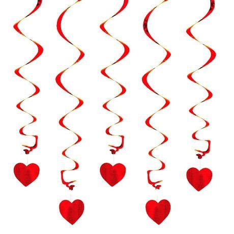 5 Girlande Spiral Deckenhänger mit Herz - rot