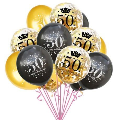 Konfetti Luftballon Set Zahl 50 Geburtstag Happy Birthday 15 Ballons