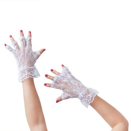 Netzhandschuhe Spitze kurz Hochzeit Karneval Fasching - weiß