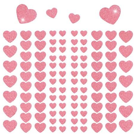 106 Herz Sticker Aufkleber Set mit Glitzer Scrapbooking Basteln - rosa