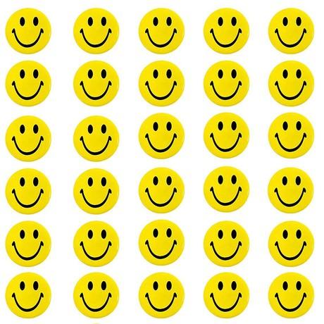 30 Stück Smiley Button Anstecker mit Sicherheitsnadel - gelb