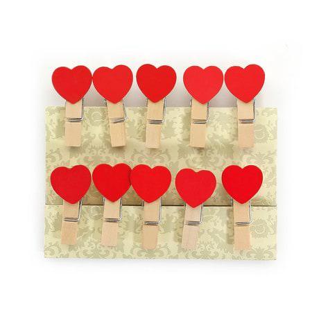 10 Mini Wäscheklammern Holz Miniklammern kleine Deko Klammern - Herzen