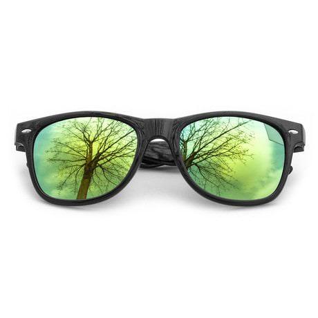 Nerdbrille Hornbrille 80s Retro Nerd Sonnenbrille - gold / verspiegelt