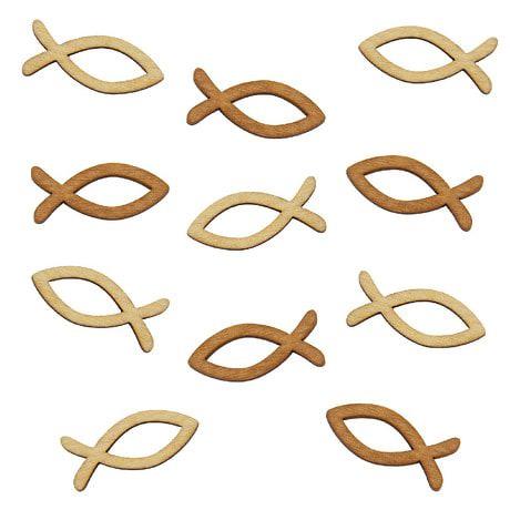 18 Holz Fische Mix Streudeko Taufe Kommunion Konfirmation - Echtholz