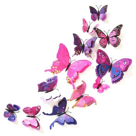 3D Schmetterlinge 12er Set Wandtattoo Wandsticker Wanddeko - pink-lila