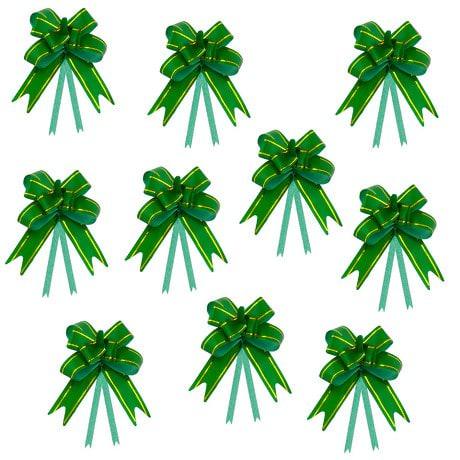 10 Geschenkschleifen mit Geschenkbändern Deko Schleifen - grün