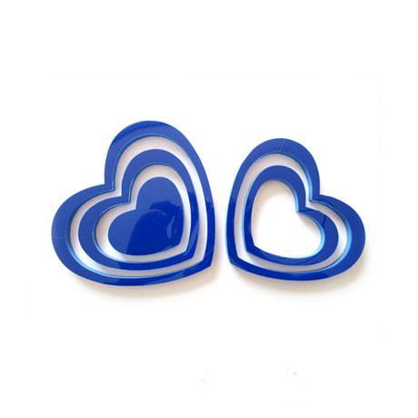 3D Herzen 5er Set Wandtattoo Dekoration 3D Deko - dunkelblau