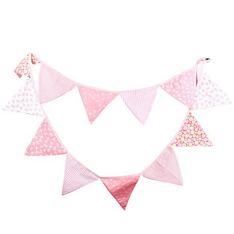 Wimpel Girlande Wimpelkette Banner Vintage - rosa