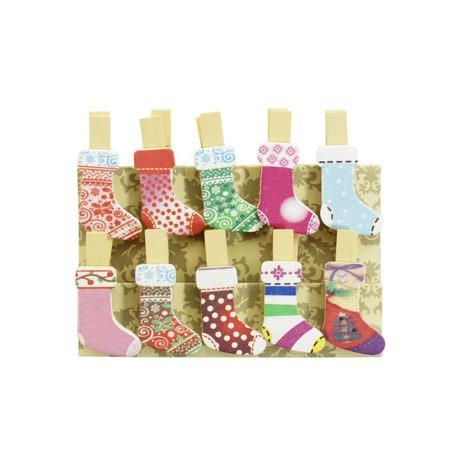 10 Mini Wäscheklammern Holz Miniklammern Deko Klammern - Strümpfe