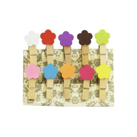 10 Mini Wäscheklammern Holz Miniklammern Deko Klammern - bunte Blumen