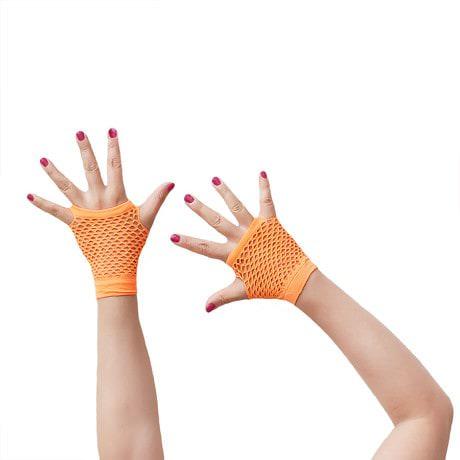 Netzhandschuhe kurz fingerlos Party Karneval Fasching - neon orange