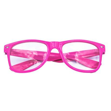 Nerdbrille Hornbrille 80s Retro Nerd Streber Brille - rosa