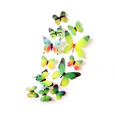 3D Schmetterlinge 12er Set Wandtattoo Wandsticker Wanddeko - Real grün