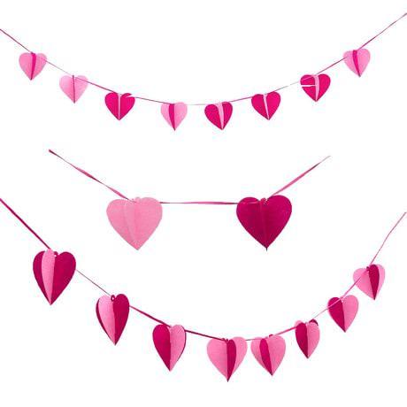 Herz Girlande 3D Liebe Deko Hochzeit - pink rosa