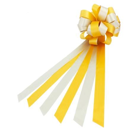 Geschenkschleife mit Geschenkband Groß Deko Schleifen - gelb weiß