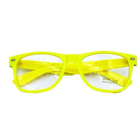 Nerdbrille Hornbrille 80s Retro Nerd Streber Brille - gelb