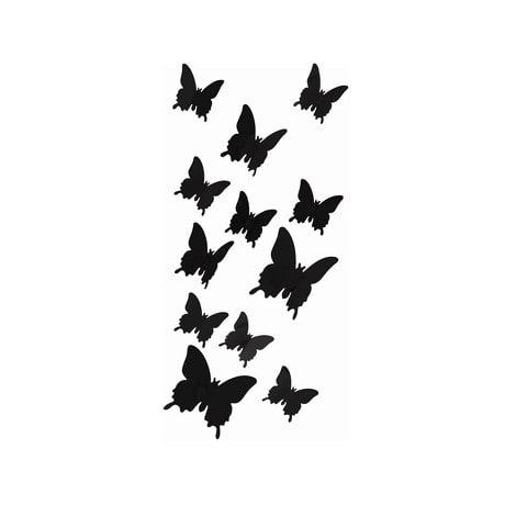 3D Schmetterlinge 12er Set Wandtattoo Wandsticker Wanddeko - schwarz
