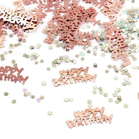 Konfetti Set 500 Stk Happy Birthday Sterne Herzen Tischdeko Geburtstag Roségold