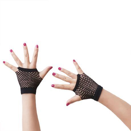 Netzhandschuhe kurz fingerlos Party Karneval Fasching - schwarz