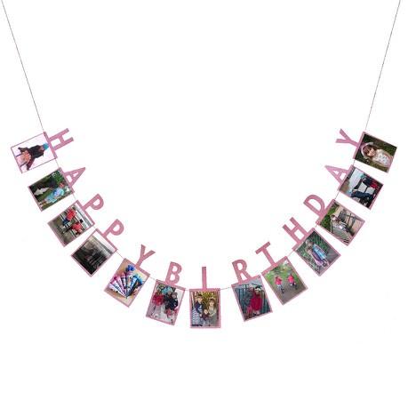 Happy Birthday Girlande für Mädchen für eigene Fotos Kinder Geburtstag