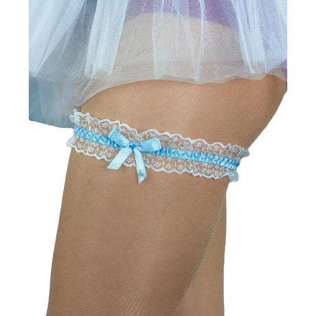 Strumpfband mit Schleife Hochzeit JGA Junggesellinnenabschied - blau