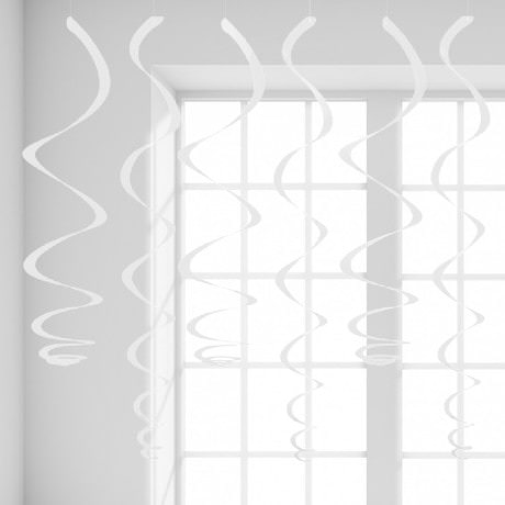 12 Wirbel Deckenhänger Girlande mit Bänder und Ösen - weiß